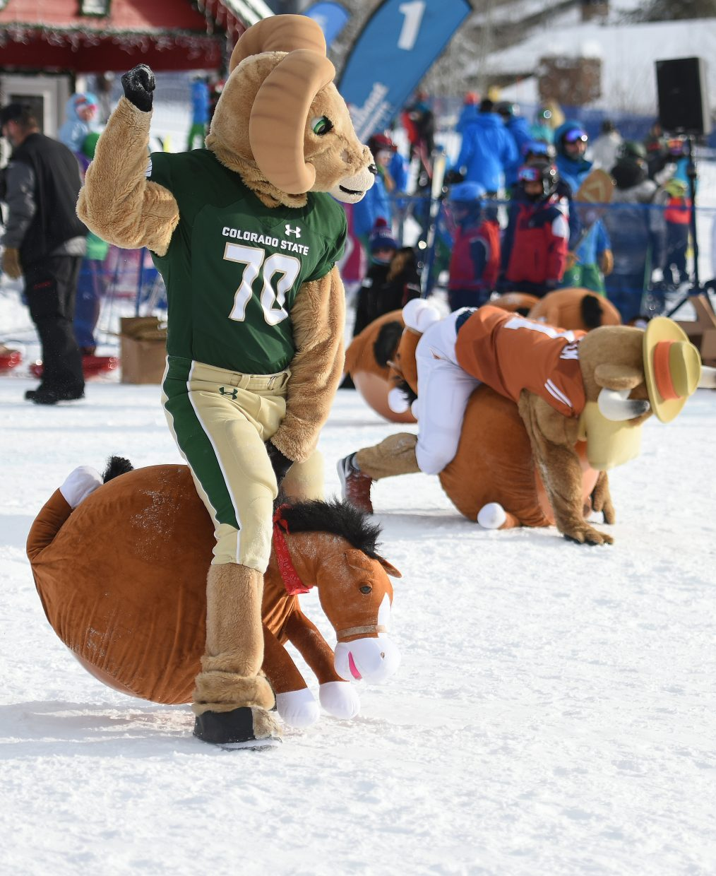 CAM the Ram, from Colorado State University, managed to bounce on his horse better than Hook'em, the mascot from the University of Texas on Saturday at Steamboat Ski Area. About 20 mascots from universities across the country — as close as CSU and as far as Boston College — swarmed the base area Saturday, participating in an afternoon of games and contests. CAM's bouncing prowess gave him an edge over his long-horned friend, but it wasn't enough to win the day. Alphie, a wolf from University of Nevada, placed first for the second consecutive year.