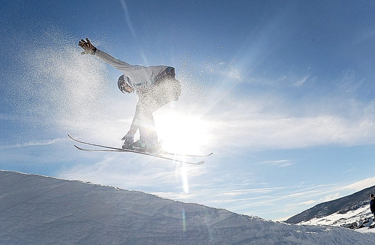 Ryan Saladin hits a kicker near the bottom of the slopes Wednesday afternoon at Steamboat Ski Area.