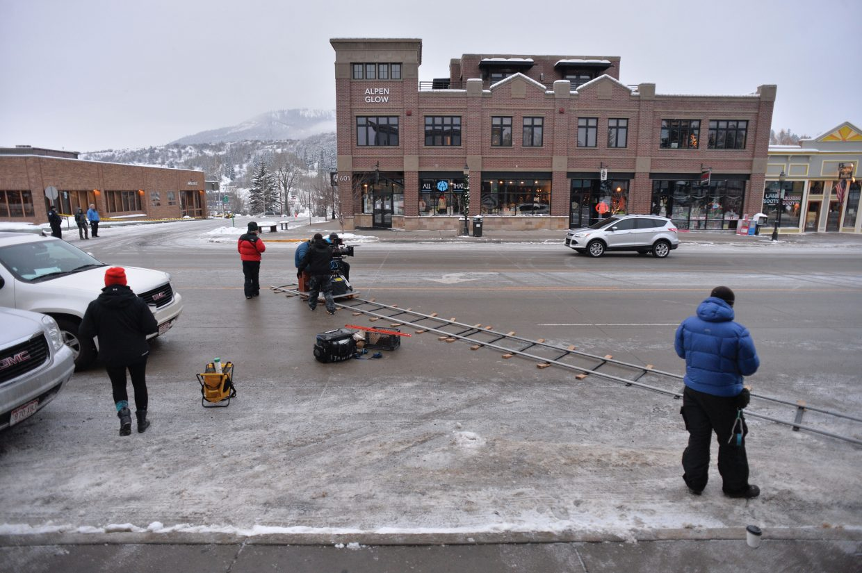 Television crews worked Thursday morning on Lincoln Avenue in downtown Steamboat Springs. The footage the crews shot will be used for upcoming Ford commercials.