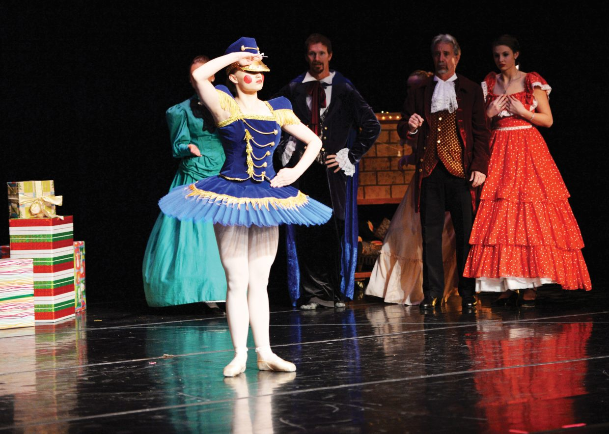 "Dancer Joey Morrow plays the part of a toy soldier in Elevation Dance Studio's production of ""The Nutcracker."" The show will step into the spotlight at 6 p.m. Friday and Saturday in the Steamboat Springs High School auditorium."
