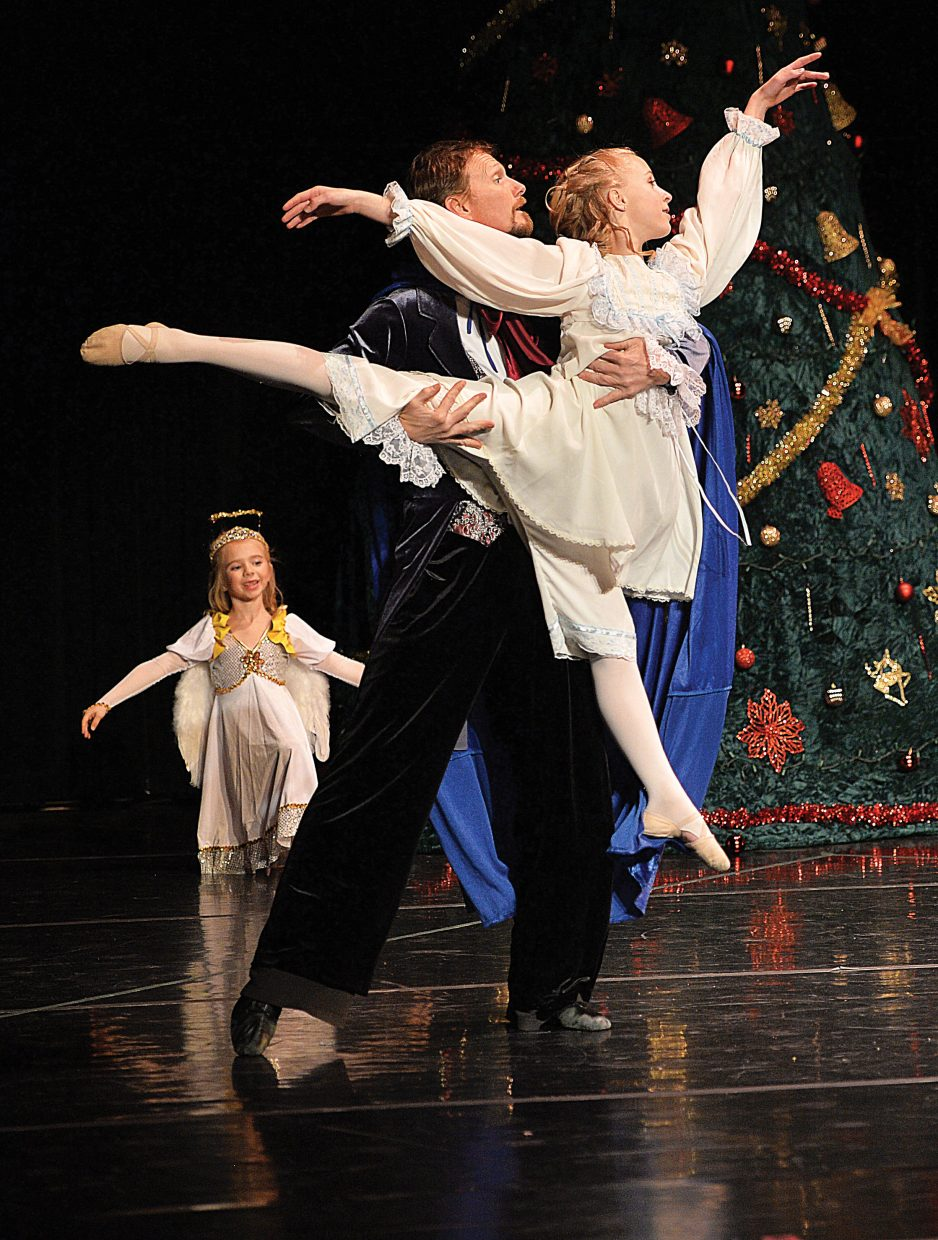 "Jordan Broyhill and Don Miles share a scene in Elevation Dance Studio's production of ""The Nutcracker."""