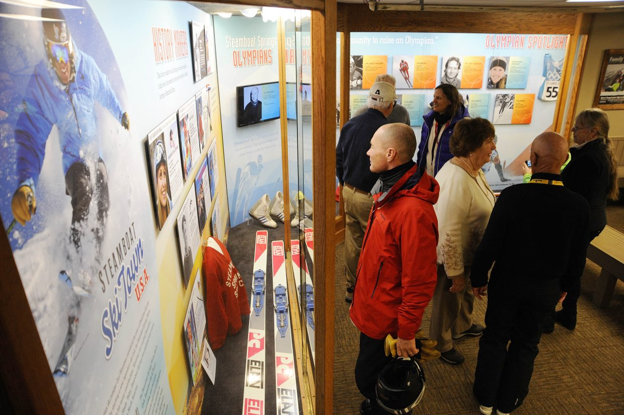 People gather at the Thunderhead Lodge at Steamboat Ski Area for the dedication of a Steamboat Olympian tribute display. The ski area partnered with the Tread of Pioneers Museum to construct the display, which is located on the second floor of Thunderhead. The exhibit was made possible through a donation from the Duffey family in honor of Ed and Jayne Hill.