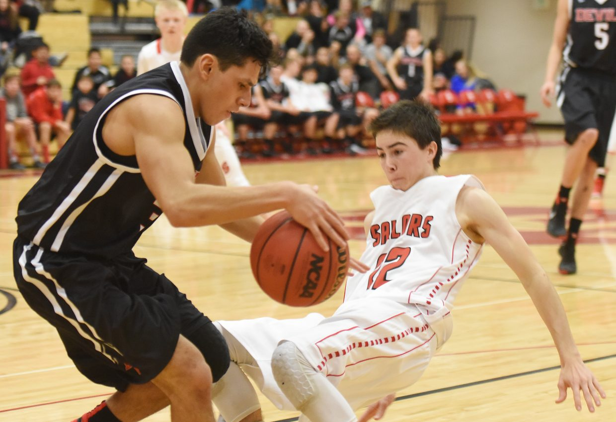 Steamboat junior McKenyon King flies to the floor Saturday against Eagle Valley.