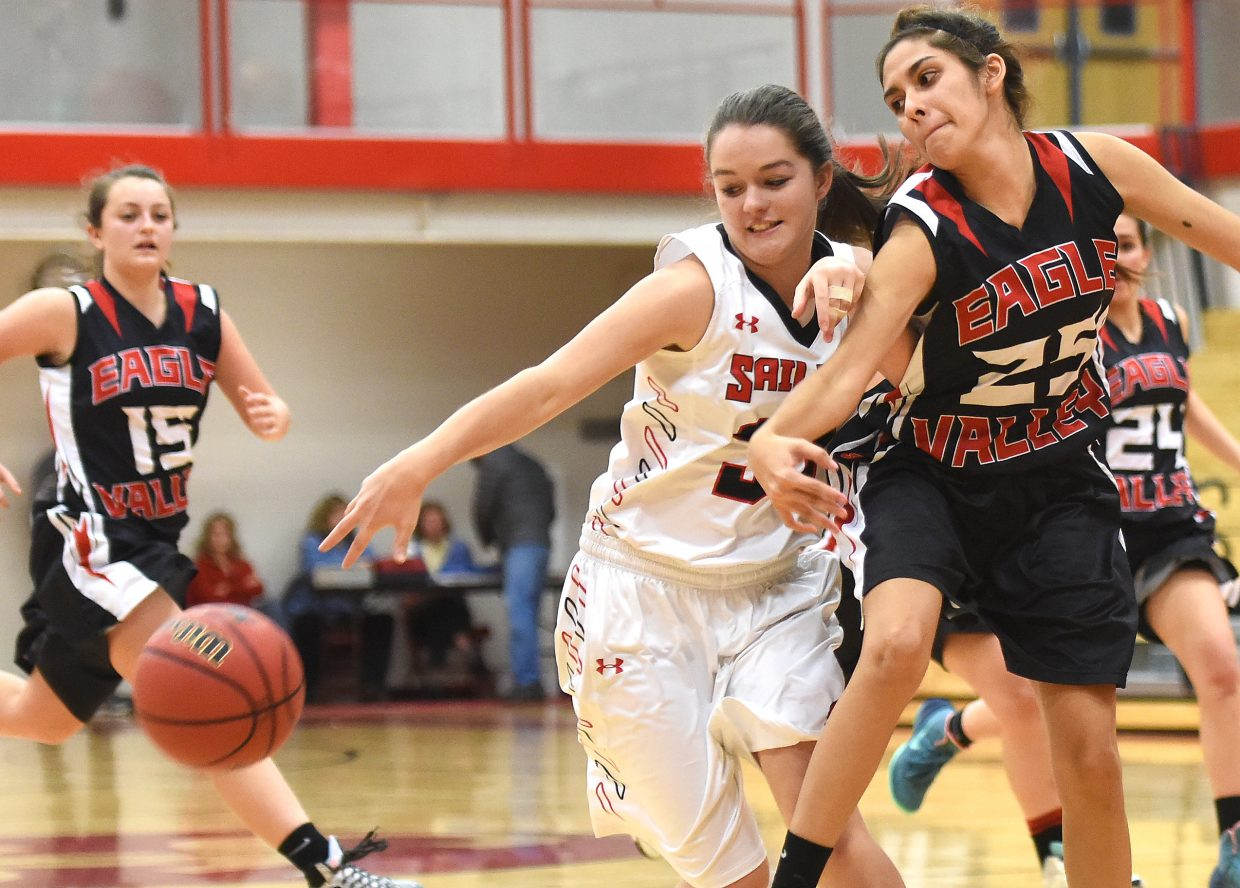 Steamboat sophomore Karly Lanning tries to pull in a loose ball Saturday against Eagle Valley.