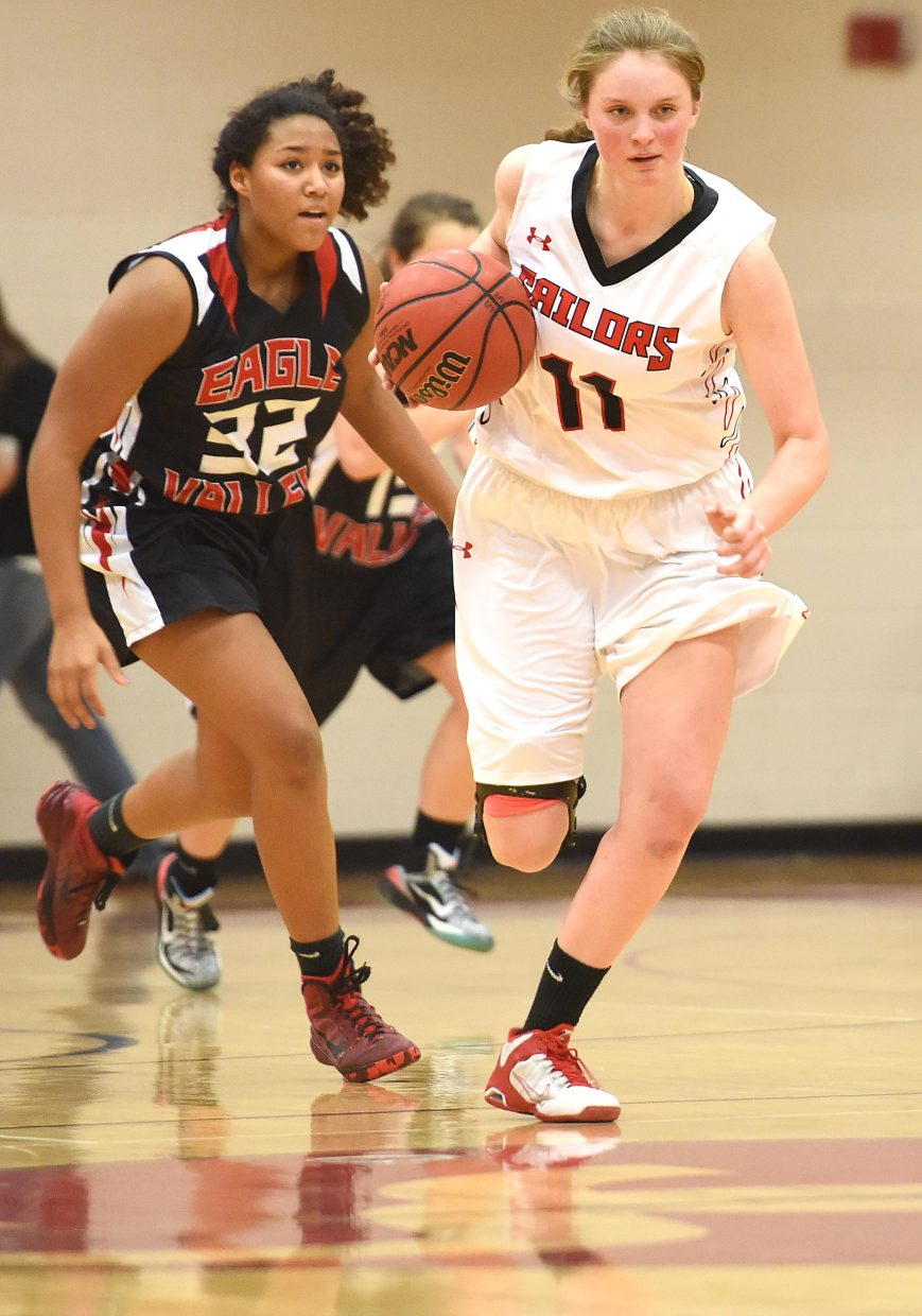 Steamboat senior Annie Osbourn charges down the court with the ball Saturday against Eagle Valley.