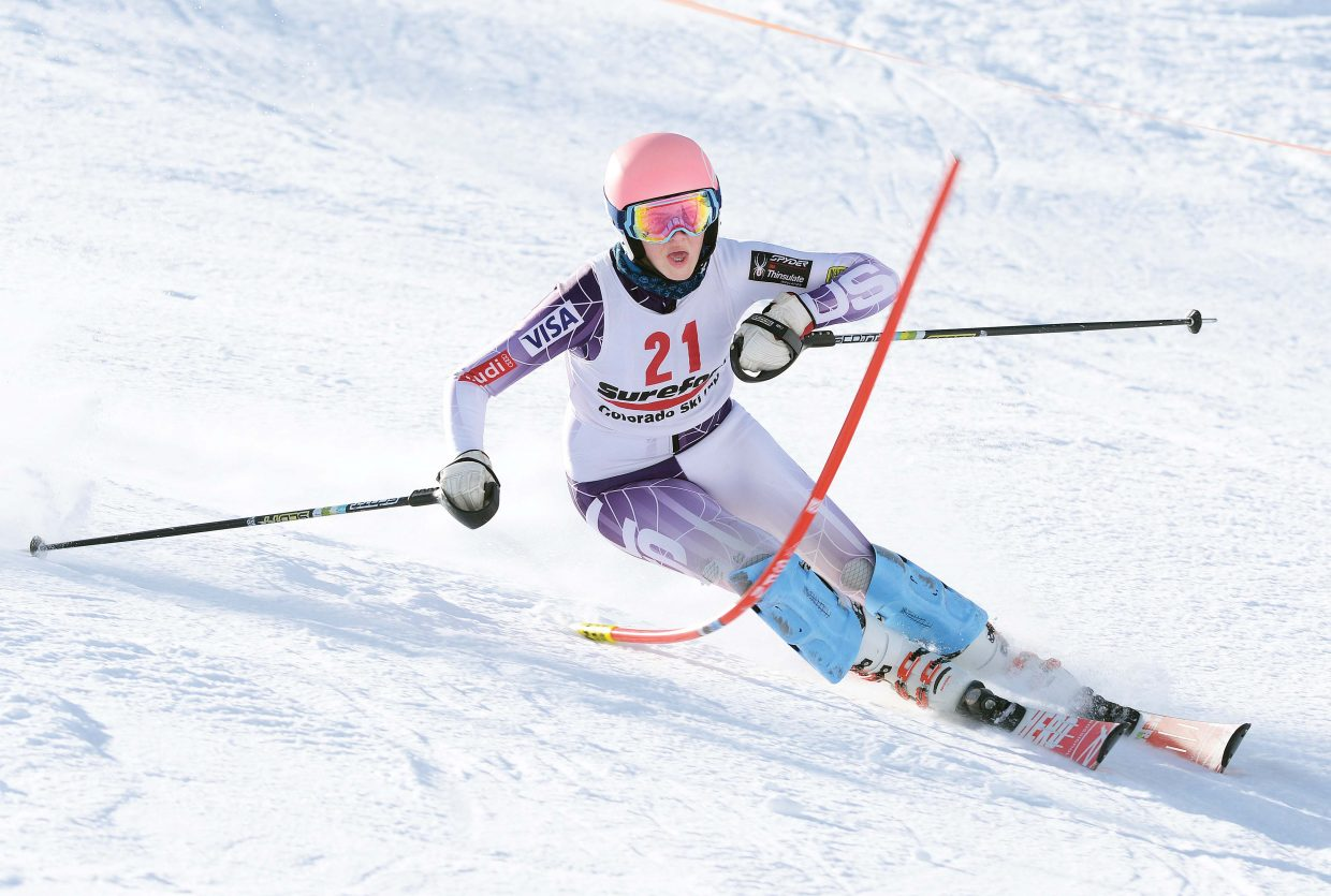 Steamboat Springs ski racer Jazlyn Lynch races down the face of Howelsen Hill during the first day of the SureFoot Holiday Classic at Howelsen Hill.