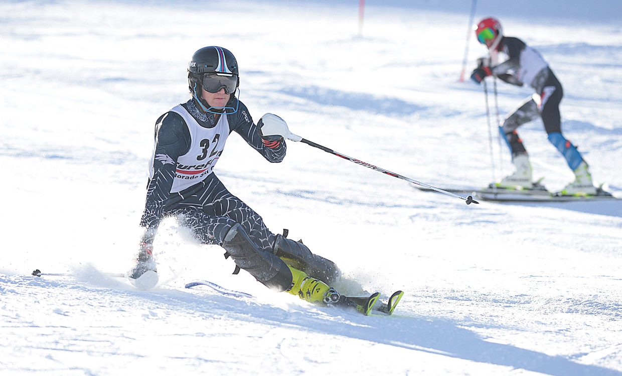 Steamboat Springs ski racer Will McConnell lays down a blisteringly fast second run during the first day of the SureFoot Holiday Classic at Howelsen Hill.