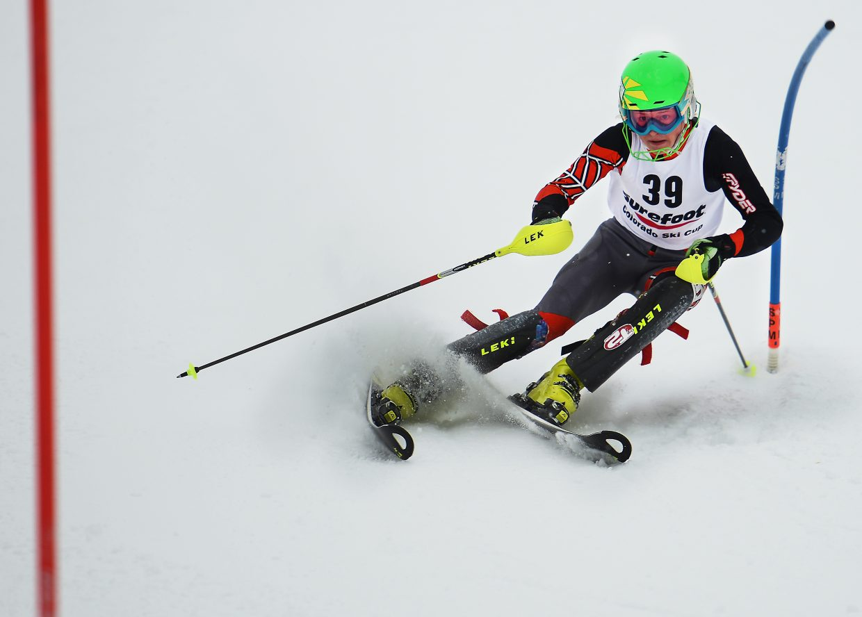 Steamboat's Jett Seymour bounces between slalom gates Saturday at Howelsen Hill in Steamboat Springs.