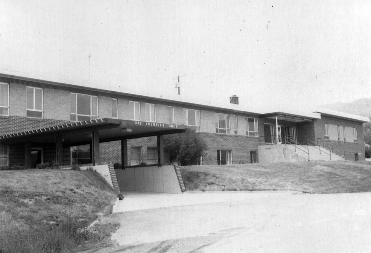 """The Routt County Memorial Hospital opened at 80 Park Avenue in August 1950. An early 1970s remodel added outpatient treatment space with a separate entrance reading """"Ski Injuries Only"""" to funnel in the many injured skiers from the Steamboat Ski Area."""