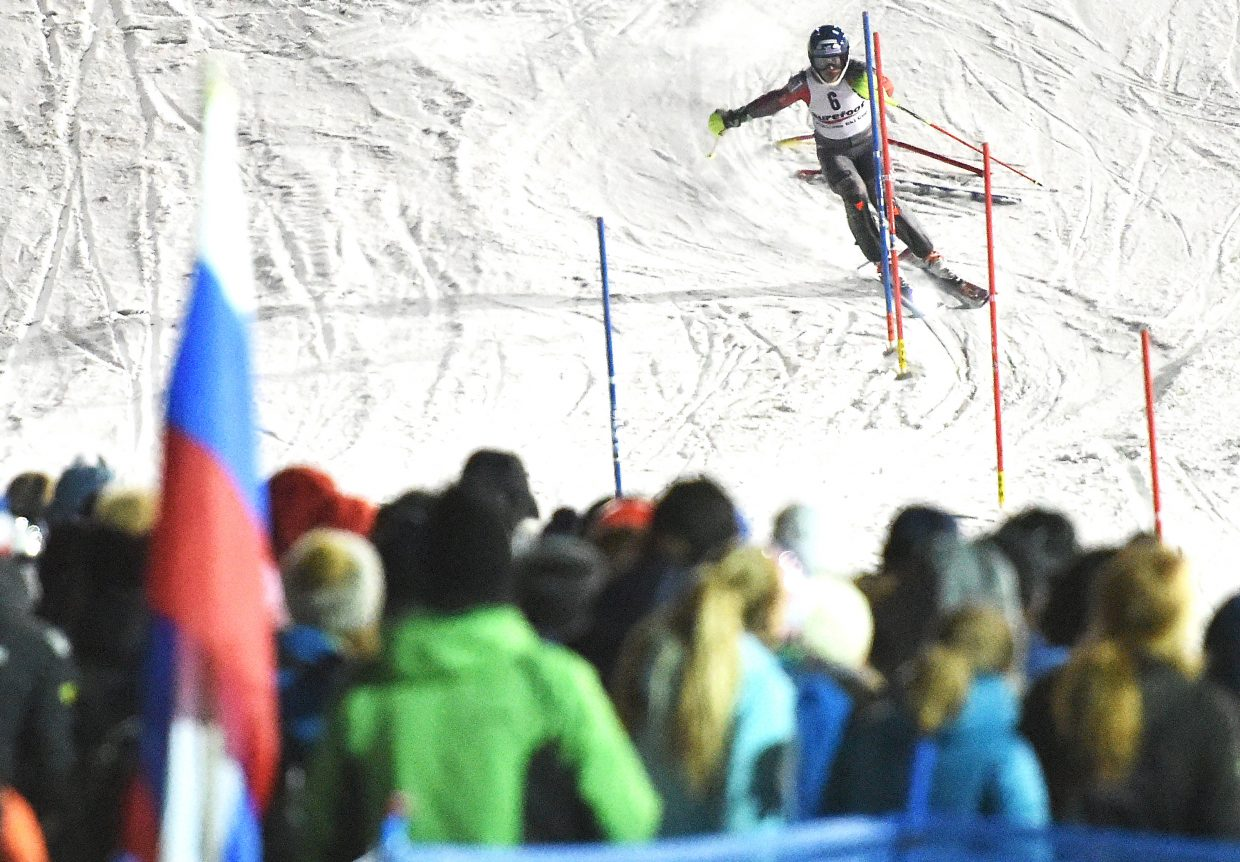 Steamboat Springs skier Hig Roberts cuts down the face of Howelsen Hill toward the crowd Tuesday night during the Murphy Roberts Holiday Classic in Steamboat Springs. Roberts worked to have the annual slalom racing event named after his brother, Murphy, who died in August. Hig went on to finish second in the men's race.