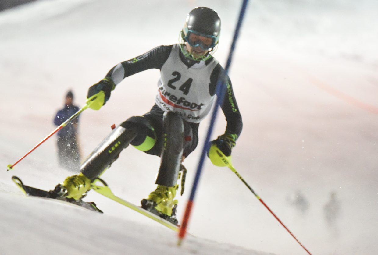Steamboat Springs skier Jett Seymour flies down the course Tuesday during the Murphy Roberts Holiday Classic slalom event in Steamboat Springs. He went on to finish as the top U19 skier in the men's race.