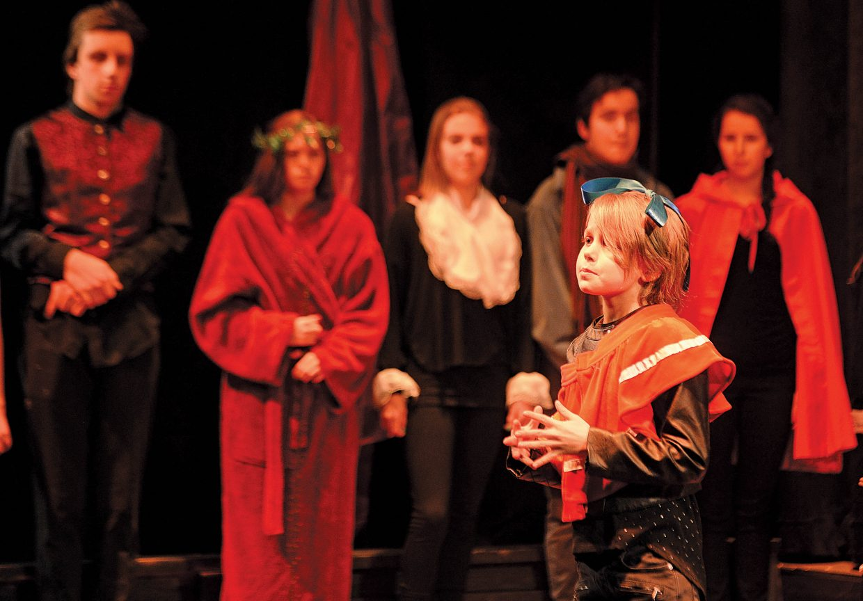 """Zahra Tatar-Brown narrates a part of """"Scrooge's Christmas"""" during a rehearsal Wednesday night. The Chief Youth players will host performances at 7 p.m. Dec. 2, 3 and 4. Tickets to the production at $15."""