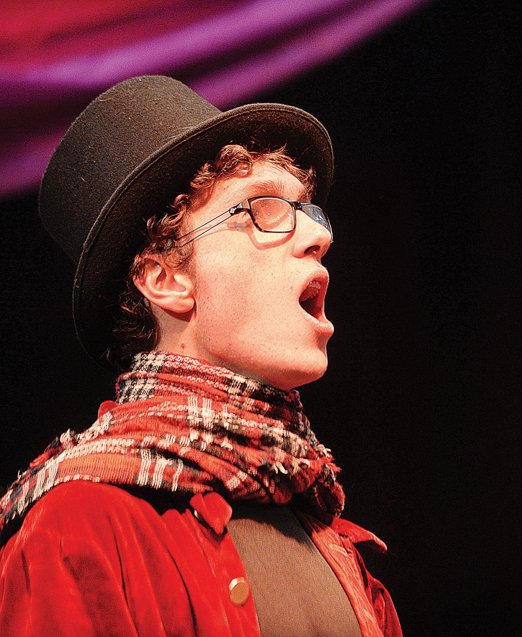 Max Timmerman, playing the part of Ebenezer Scrooge, rehearses a scene Wednesday evening at the Chief Theater. Scrooge's Christmas will be put on by the Chief Youth players at 7 p.m. Dec. 2-4. Tickets to the production at $15.