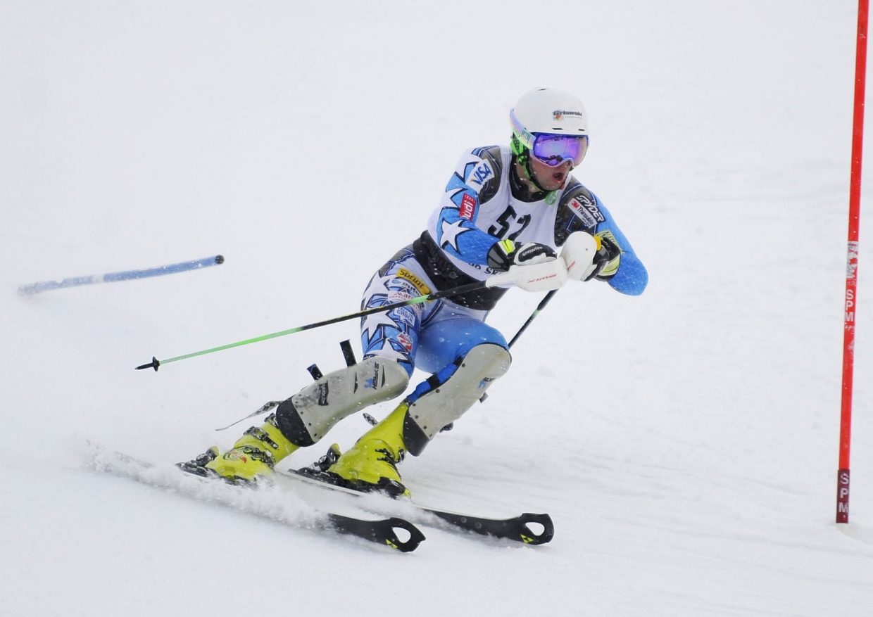 Steamboat Springs Winter Sports Club alumnus Tyler Theis competes Saturday during the Surefoot Holiday Classic at Howelsen Hill.
