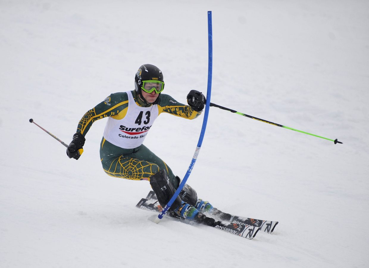 Steamboat Springs Winter Sports Club alumnus James Schindler competes Saturday during the Surefoot Holiday Classic at Howelsen Hill.