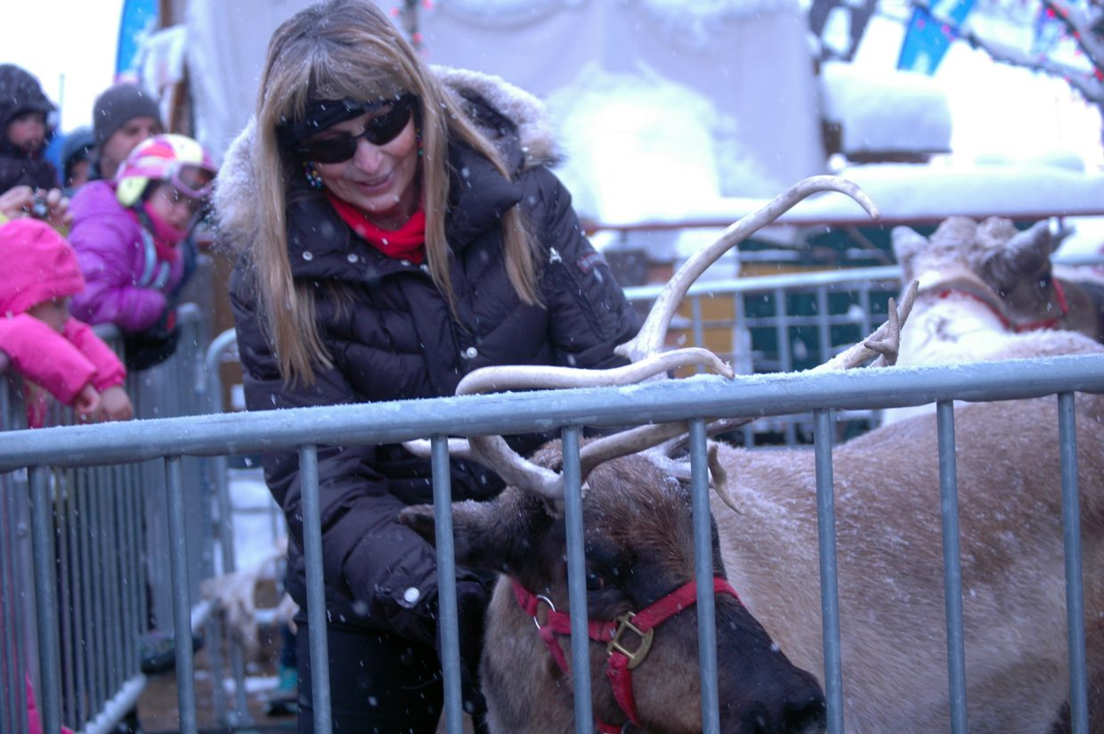 Tricia Flower shows off Blitzen at Steamboat Ski Area on Sunday.
