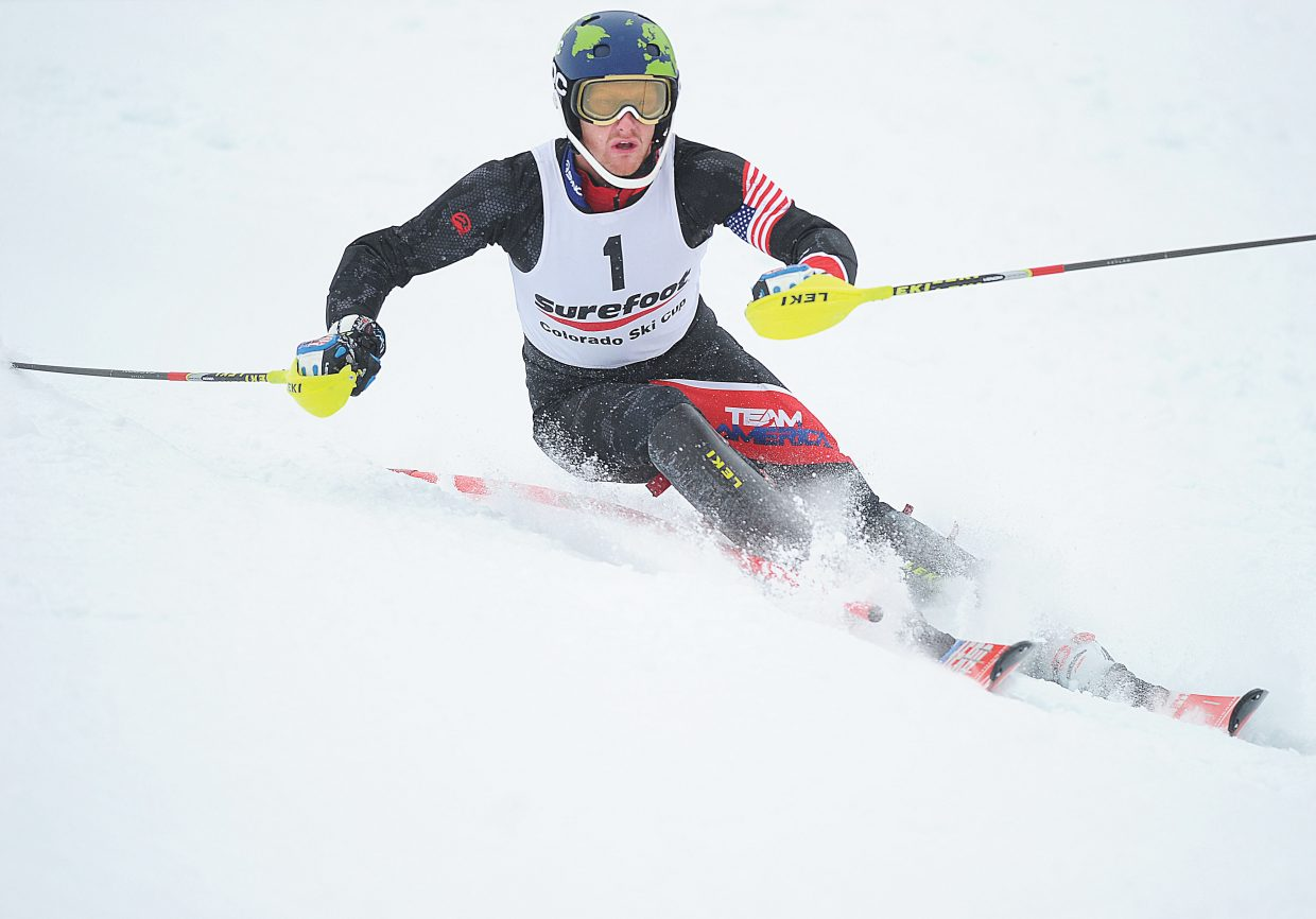 Seppi Stiegler, of Team America, edged teammate Hig Roberts, a Steamboat Springs native, in Monday's men's slalom race. The event was the last race of the Holiday Classic in Steamboat Springs.