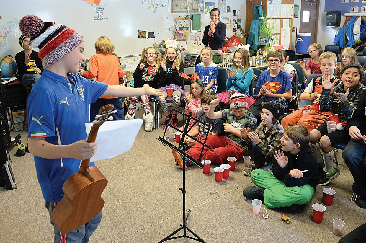 Cade Kavanagh acknowledges his audience after performing at the fifth-grade talent show at Soda Creek Elementary School in December.