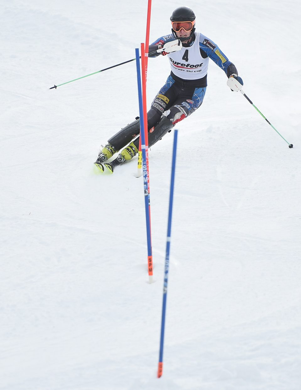 Nick Santaniello, who trained in Steamboat Springs before starting at University of Denver, charges down the slalom course at Howelsen Hill on Wednesday. He placed in a tie for third in the men's field.