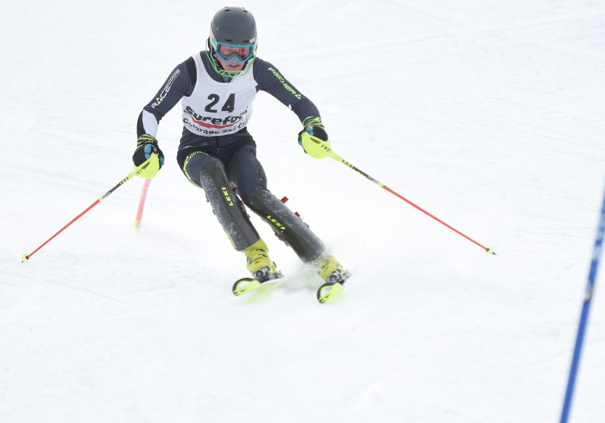 Jett Seymour cuts down the face of Howelsen Hill on Wednesday in Steamboat Springs.