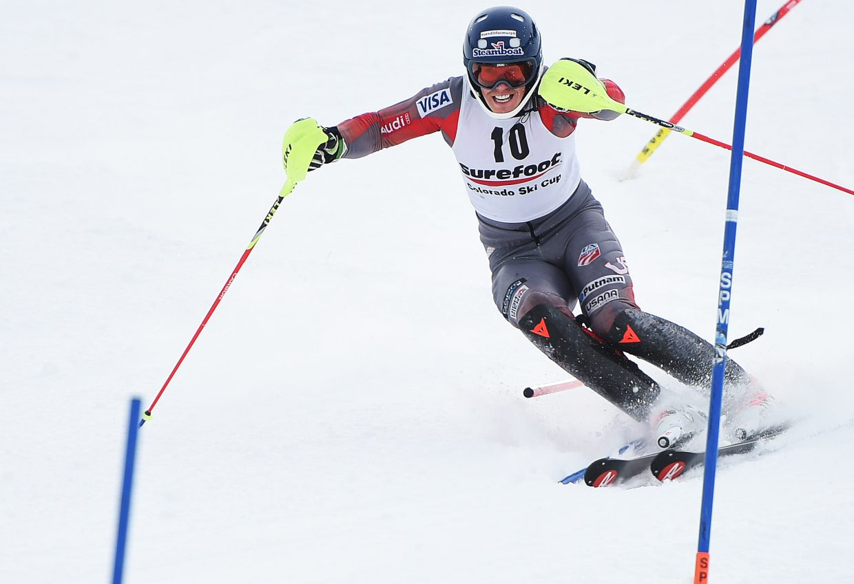 U.S. Ski Team athlete Hig Roberts cuts between gates Wednesday.