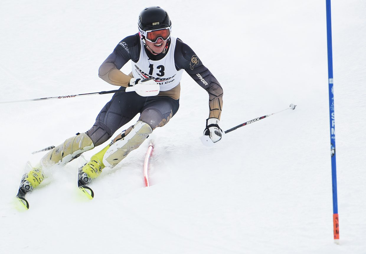 University of Colorado skier Max Luukko cuts down the hill Wednesday during a slalom race in Steamboat Springs. He finished second.