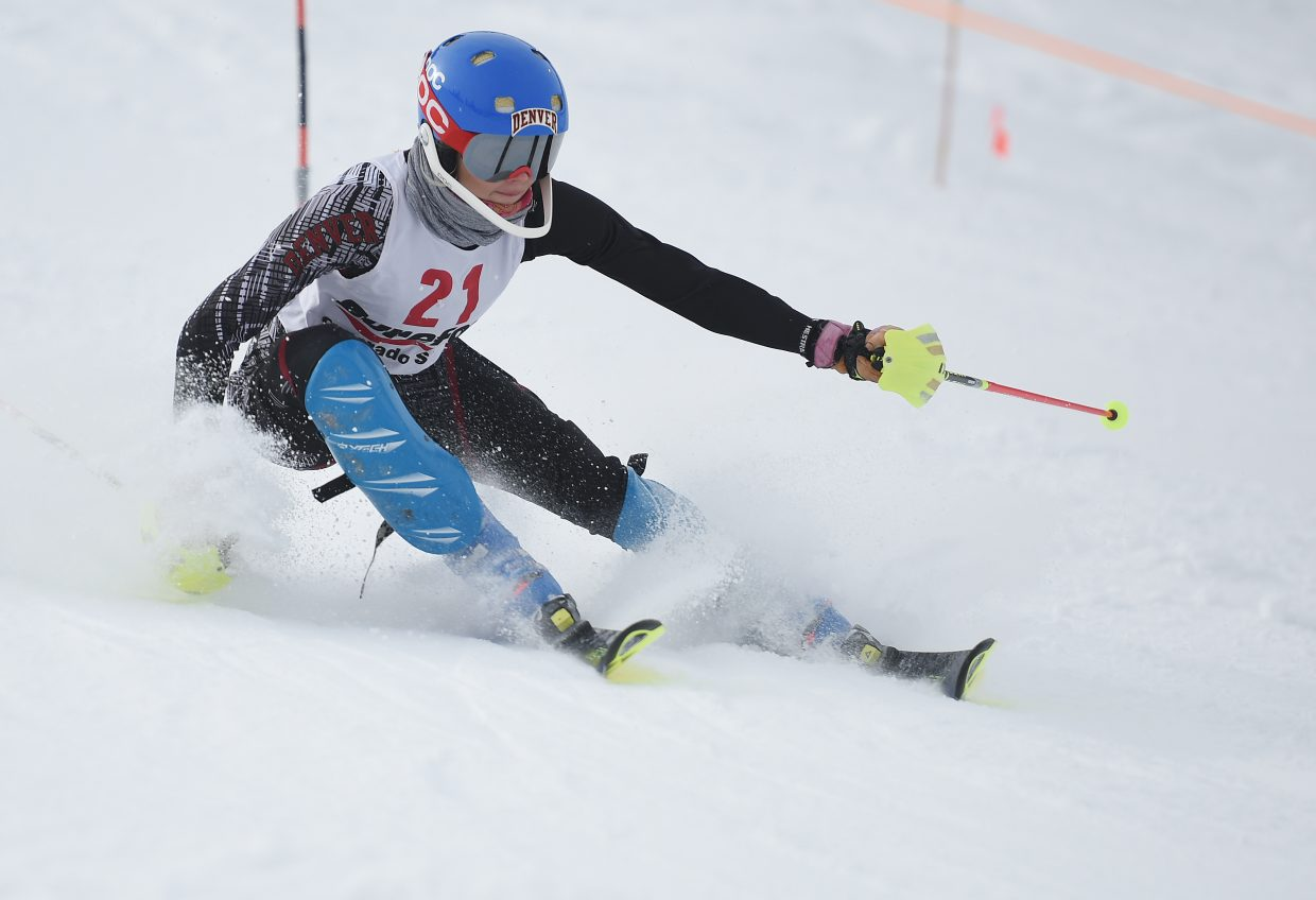 Steamboat skier Serina Kidd, now competing for University of Denver, tries to make a turn Wednesday at the Murphy Roberts Holiday Classic in Steamboat Springs.
