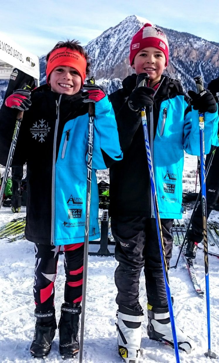 SSWSC U10 athletes Henry Magill, left, and Grey Barbier finished first and second in both of their Rocky Mountain Nordic JNQ cross country ski races this past weekend in Crested Butte.