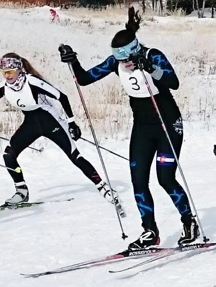 Steamboat Springs Winter Sports Club U18 athlete Jordi Floyd, right, competes in the women's sprint final heat of Saturday's Rocky Mountain Nordic JNQ cross country ski race in Crested Butte.