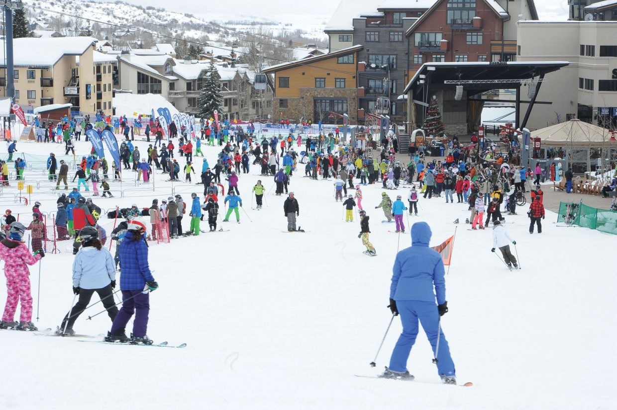 Skiers and snowboarders crowd the base of Steamboat Ski Area on Tuesday afternoon. The good news for those snow lovers is that the most recent forecast is calling for more snow the next few days.