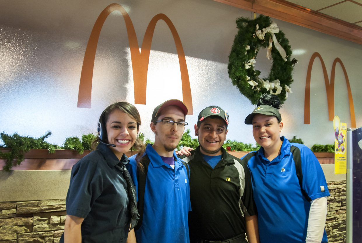 From left, Chloe Williams, Dustin Martin, Jose Fuentes and Sierra Adams take a quick break from serving customers during a busy Thursday morning shift at McDonald's in Craig. From cooking and prepping the food to taking drive-through orders, the team makes sure hungry Craig residents get the breakfast they need.