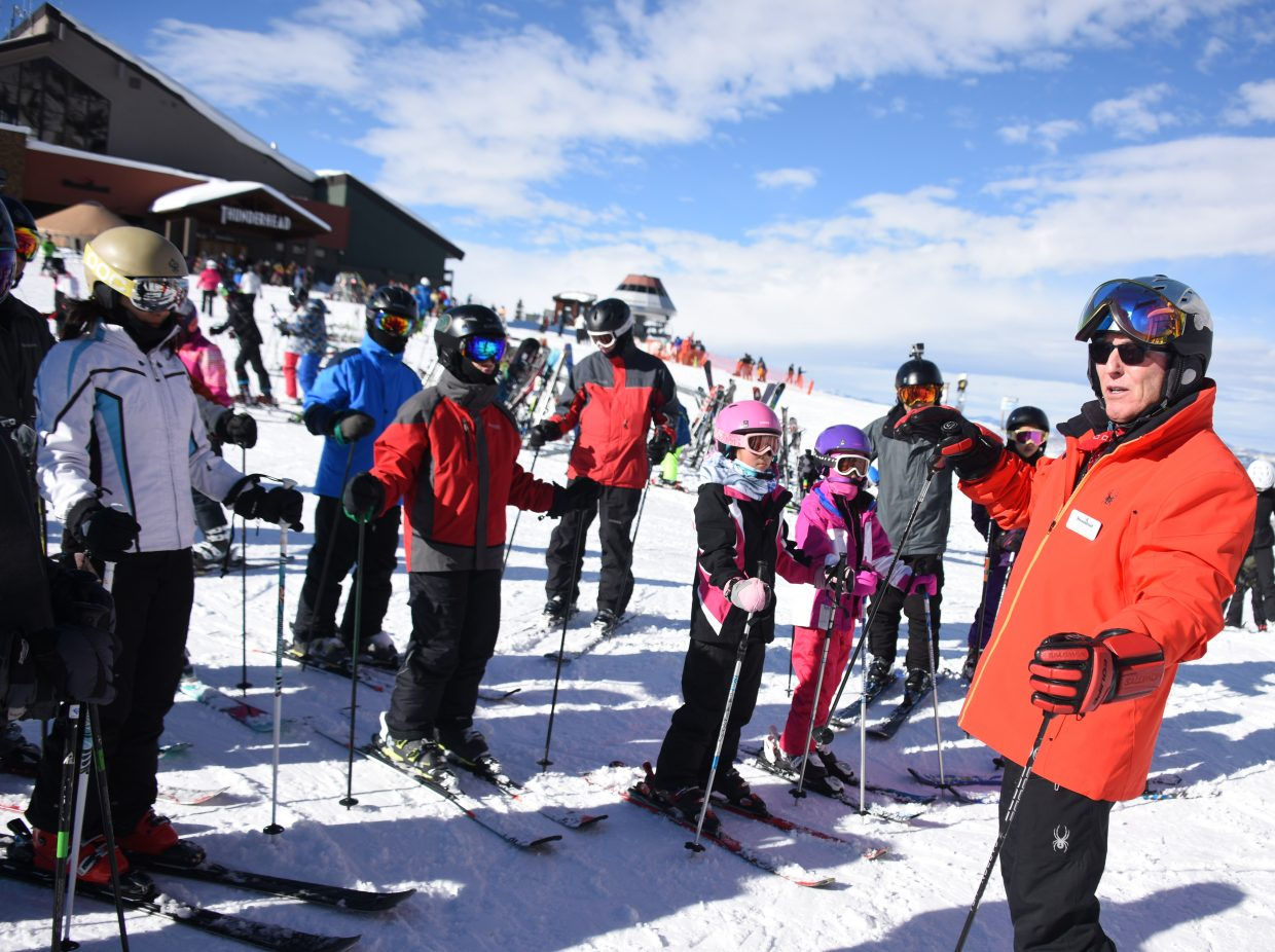 Billy Kidd leads a clinic Saturday afternoon at the top of the gondola at Steamboat Ski Area.