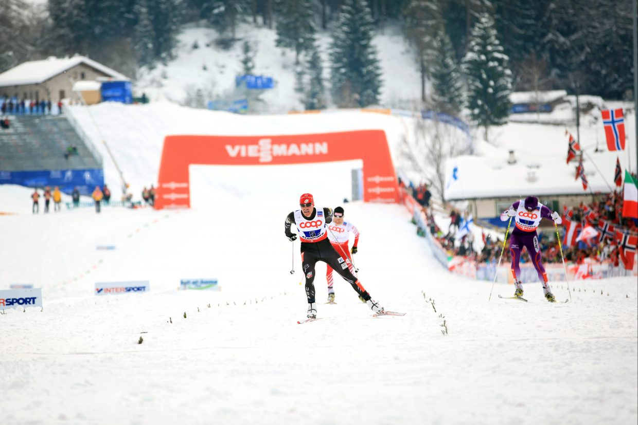 Bill Demong competes in February in the FIS Nordic combined World Championships in the team event in Val di Fiemme, Italy. Demong is preparing for the Olympic Trials, which begin Saturday in Utah with the Nordic combined event. They continue Sunday with men's and women's ski jumping.