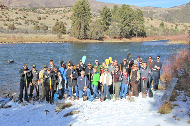 Stakeholders gather for the groundbreaking at the new Gore Canyon Whitewater Park in late November.