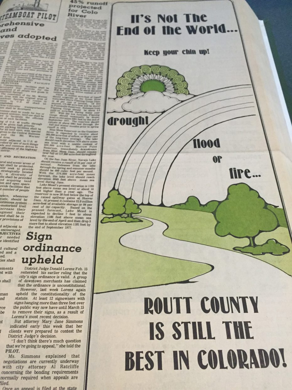 """Despite the economic impact and gloom after the ski area's closure in 1977, advertisers kept their chins up and sent the community messages like this. Businesses also advertised """"disaster sales."""""""