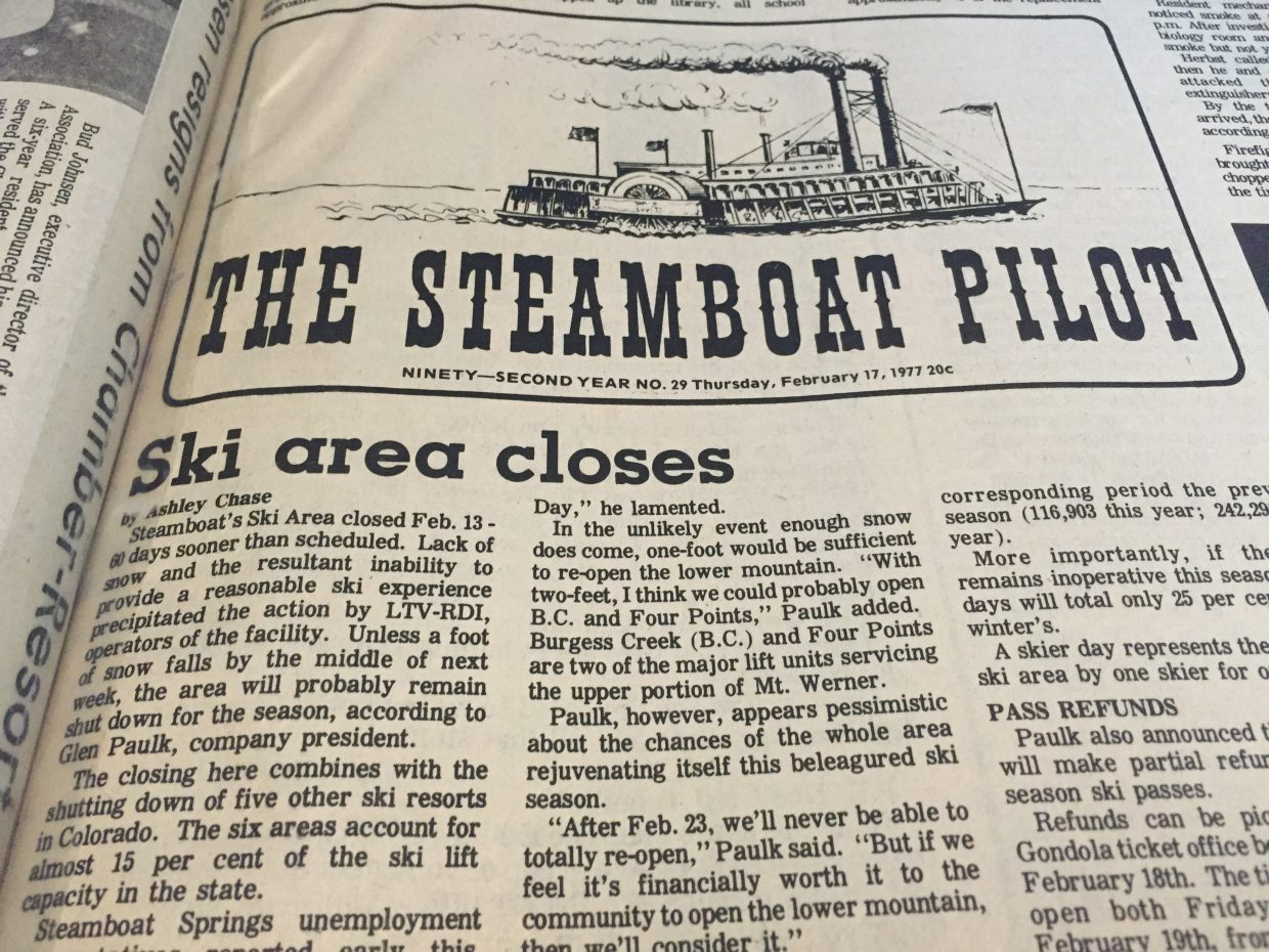 The closure of the Steamboat Ski Area and other Colorado resorts in February of 1977 made front page news around the country.