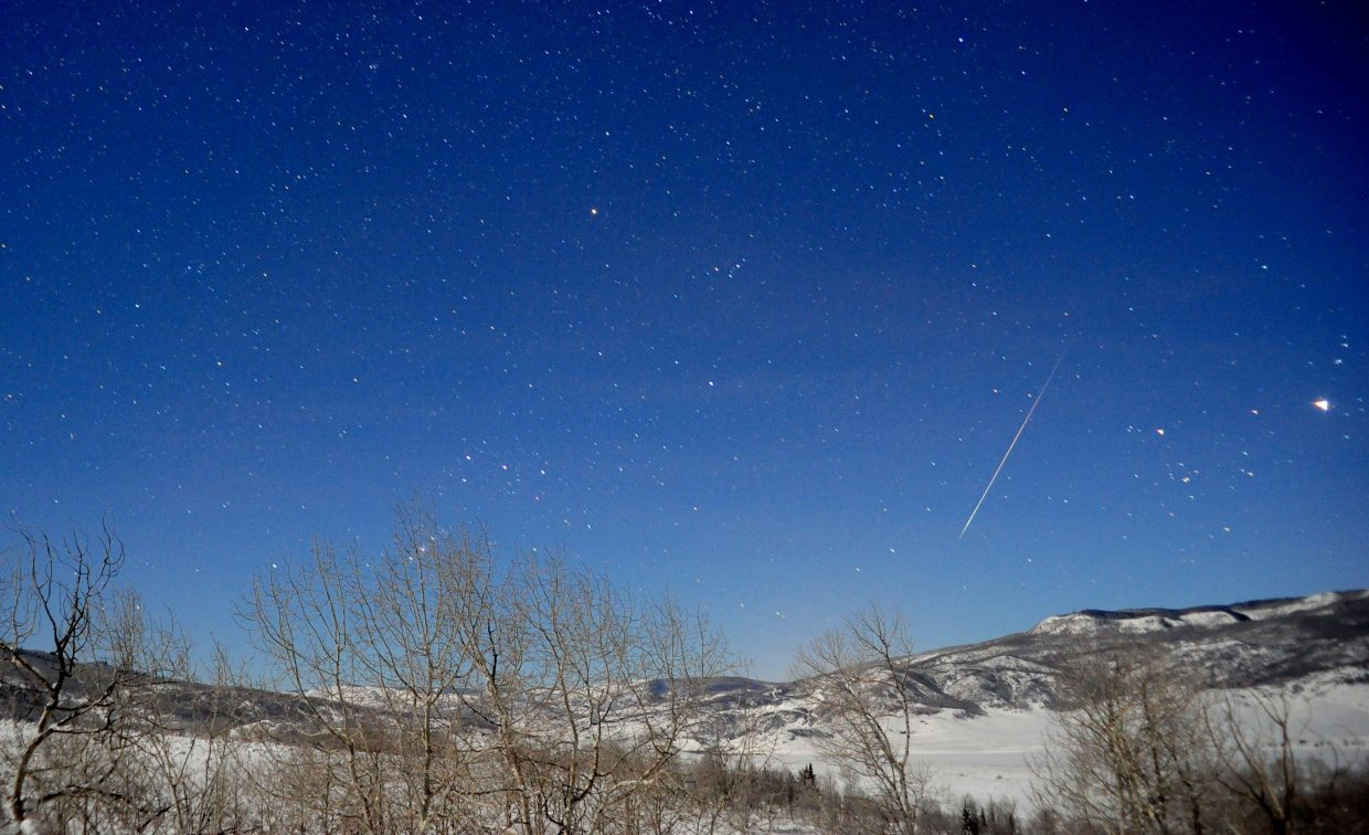 The timing of the brief peak of the annual Quadrantid meteor shower favors the western United States this year, as it did in 2013, when this Quadrantid fireball lit up the sky. Under ideal conditions, a single observer might see as many as 120 Quadrantid meteors per hour. This year's peak is predicted to occur in the hours just before dawn Jan. 3.