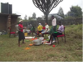 Girls at the Tasaru Girls Rescue Centre prepare supper for Christmas last year.