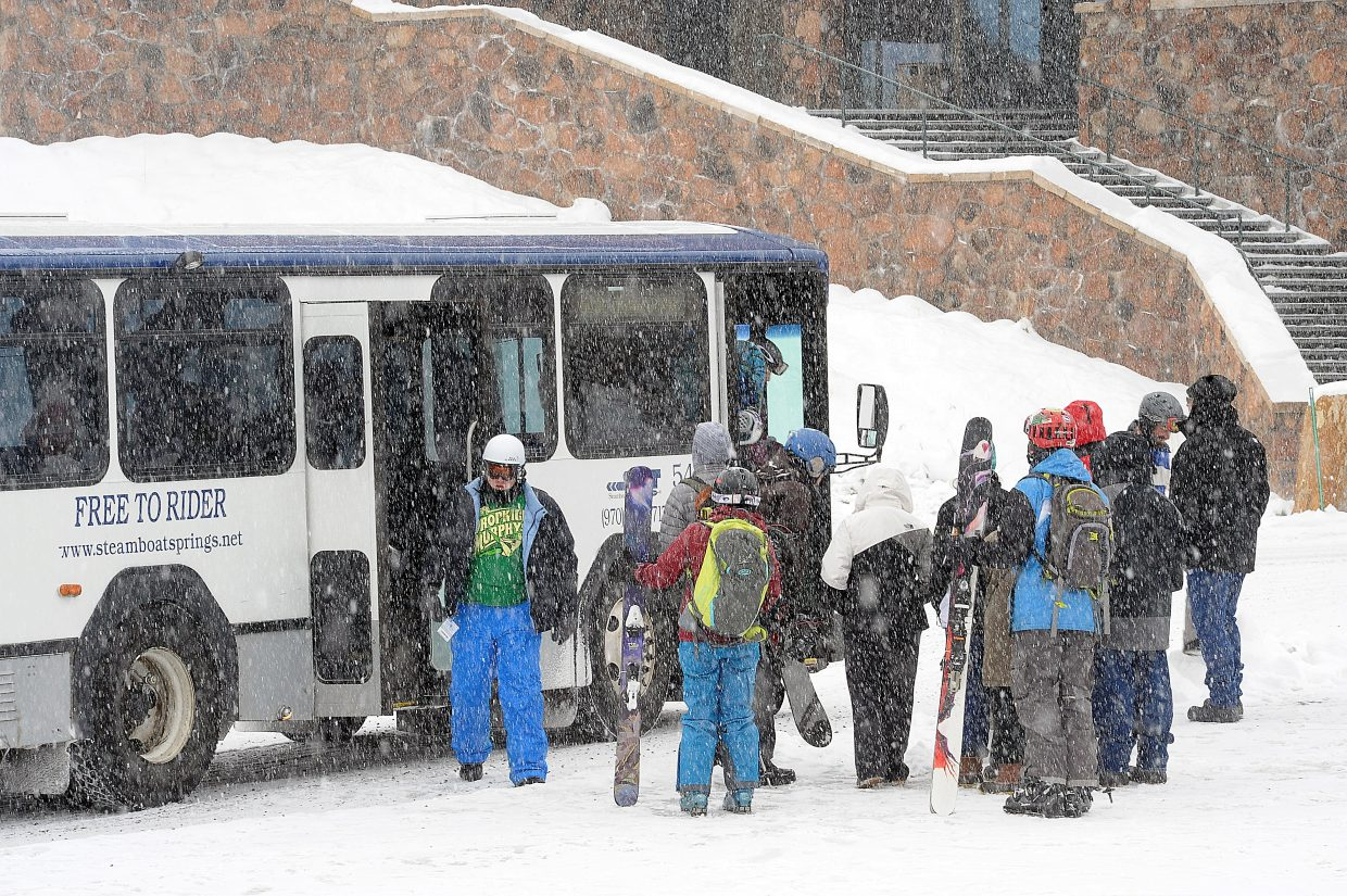 Steamboat Springs Transit passengers load and unload at the Gondola Transit Center in 2014.