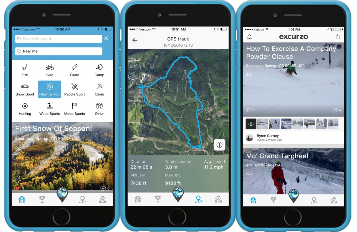 The Excurzo app allows users to track their adventures and share them socially.