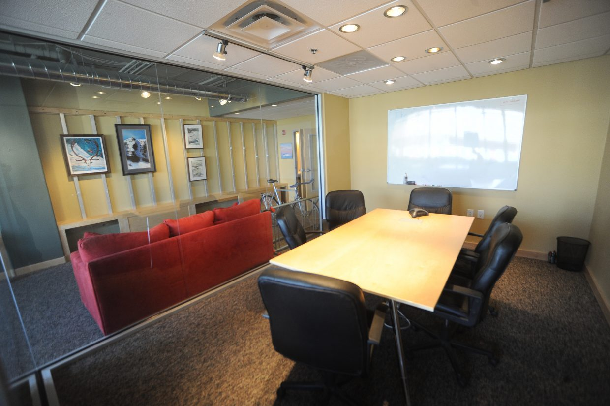 The Ski Locker features a soundproof conference room with video conferencing capabilities.