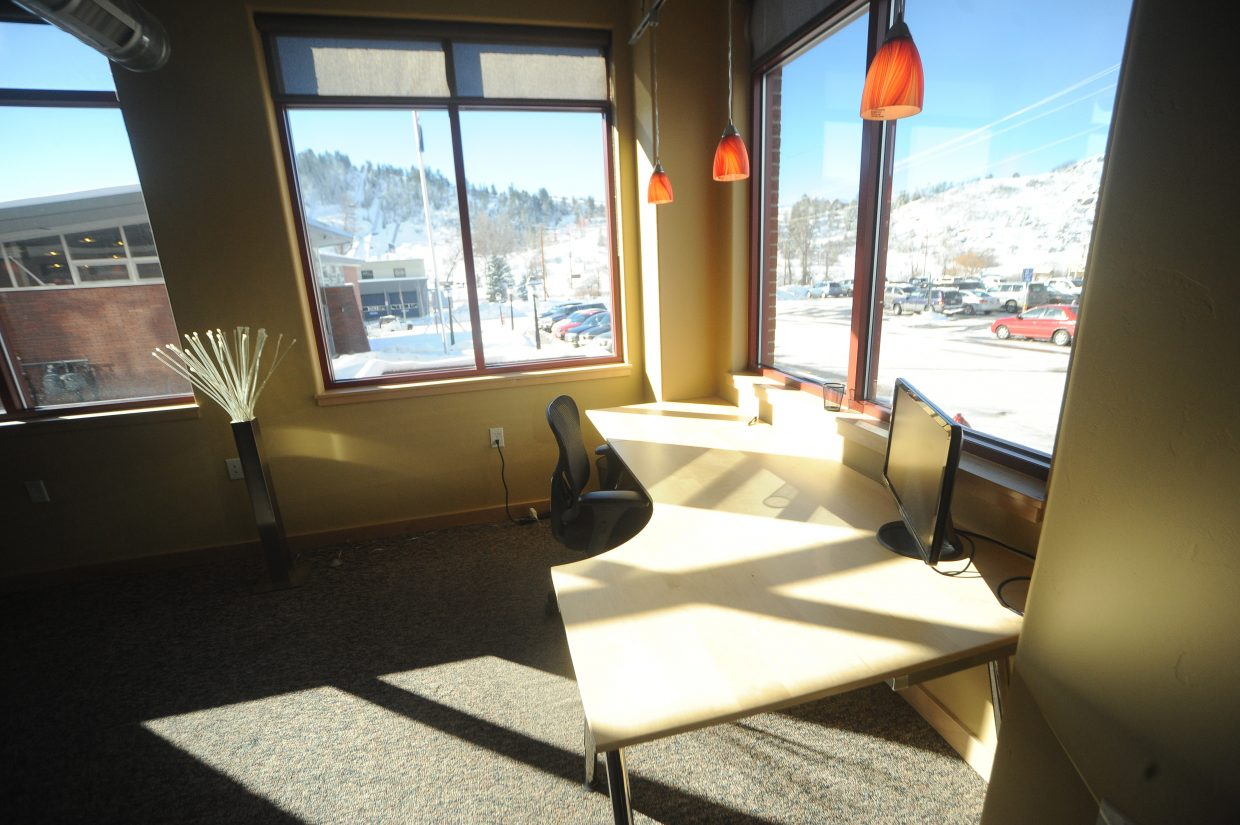 The Ski Locker coworking space is in the heart of downtown Steamboat Springs and offers workers views of Howelsen Hill.