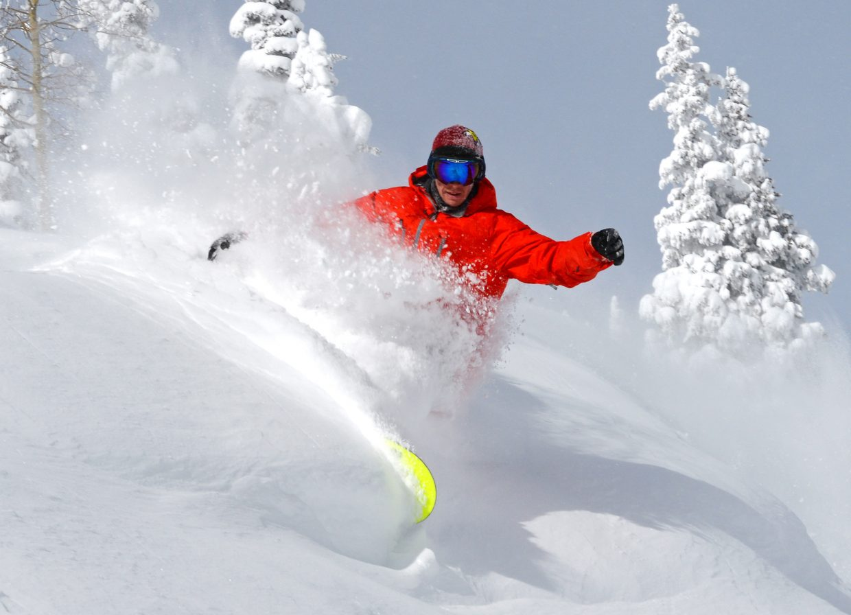 Matt Ladley carves through the powder on Mount Werner this week. Ladley, 23, has seen the ups and downs of life as a pro snowboarder, and has loved every second of it. He's recently bounced back from a bad ankle injury and is hoping for big results this winter.