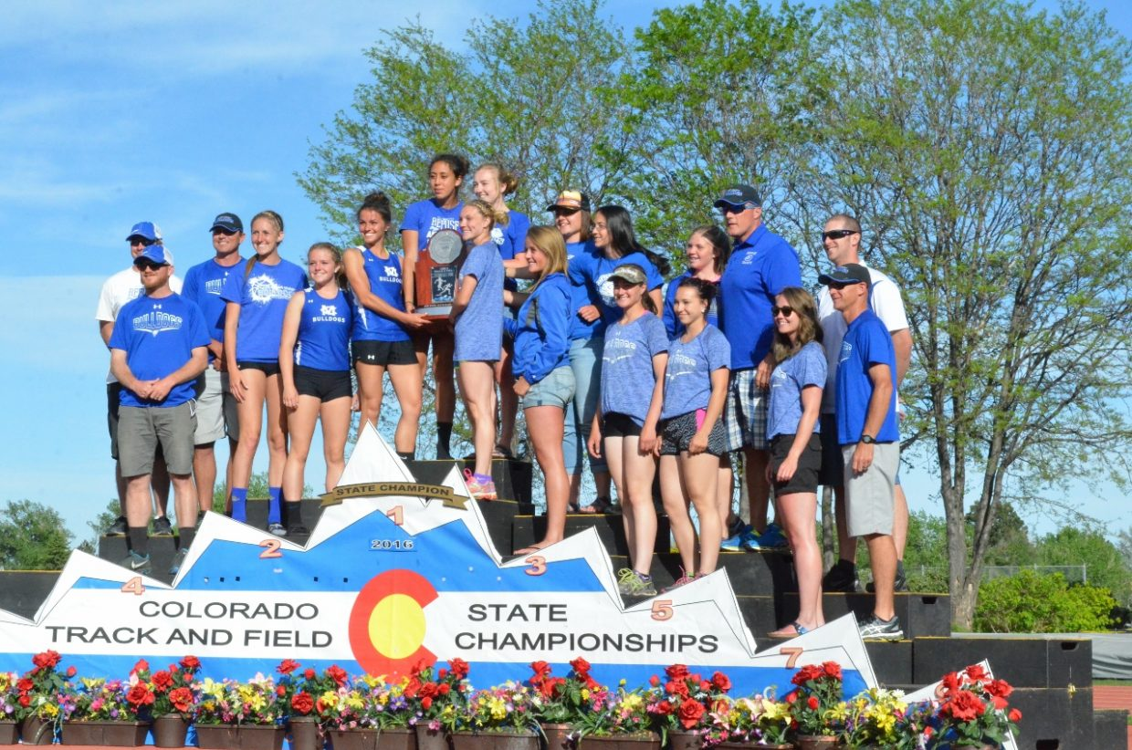 Athletes and coaches with the Moffat County High School girls track and field team accept a second-place honor at the state championships in May. Among the bright spots for Moffat County were three individual state titles for Kayla Pinnt, as well as a state meet record time in the 400-meter dash. Kayla Pinnt, Quinn Pinnt, Ary Shaffer and Emma Samuelson also won the 4x100 relay.