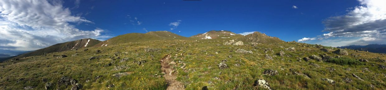 A look at the trail to the summit of Mount Massive above tree line at about 12,466 feet.