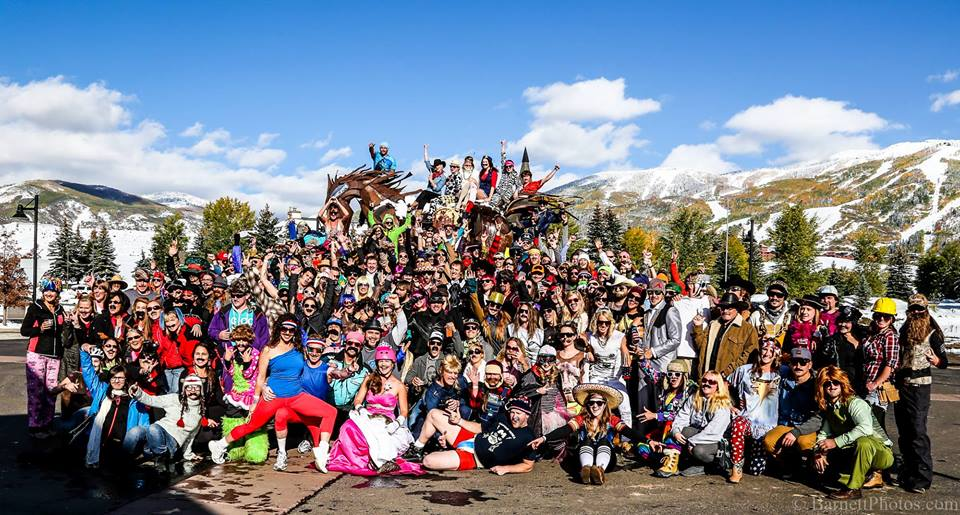 The group who participated in the 2013 Mustache Ride that takes place at various locations throughout Steamboat.