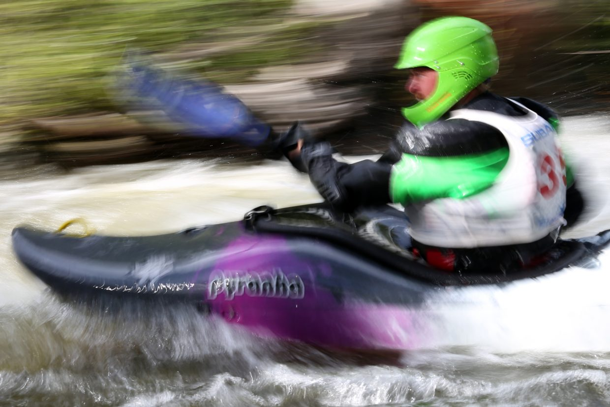 A kayaker takes part in Friday's Fish Creek Kayak Race, the opening event in this year's Yampa River Festival. The remainder of the festival will take place Saturday in Steamboat Springs, beginning at 9 a.m. with the 5K race at Little Toots park. The day will wrap up at Charlie's Hole, with food vendors located near the Bud Werner Memorial Library all day.