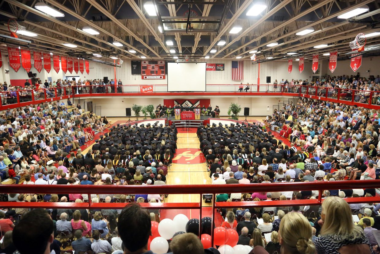 The 2015 Steamboat Springs High School class graduation on Saturday, June 6, in the school gymnasium.