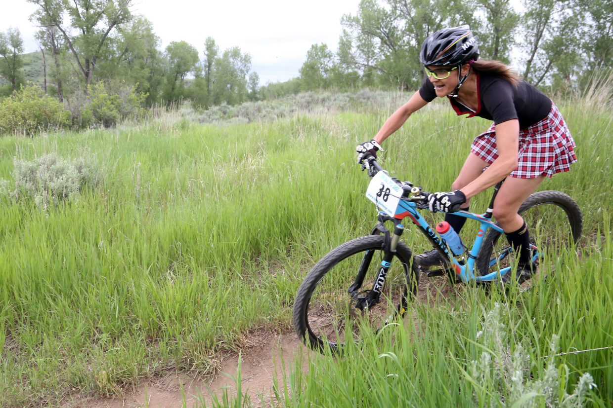 Mindy Mulliken competes in the Marabou XC Town Challenge race on Wednesday, June 10, 2015, at Marabou Ranch. She finished third in the women's pro/open division.