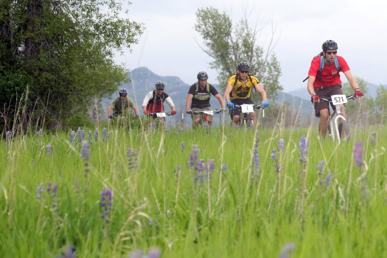 Bikers compete in the Marabou XC Town Challenge on Wednesday, June 10, 2015, at Marabou Ranch.